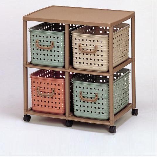 IZUMI日本製4格有轆置物架連膠籃