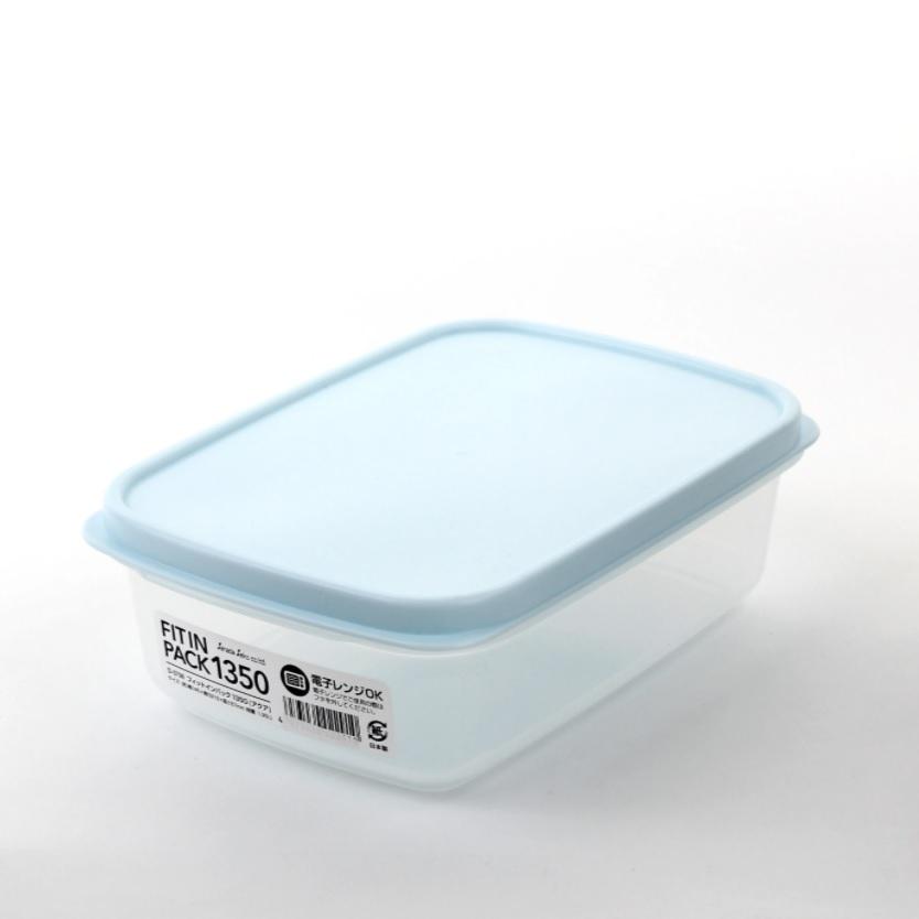 FUDO食物膠盒1350-藍蓋14.6x21.3x6.7cm