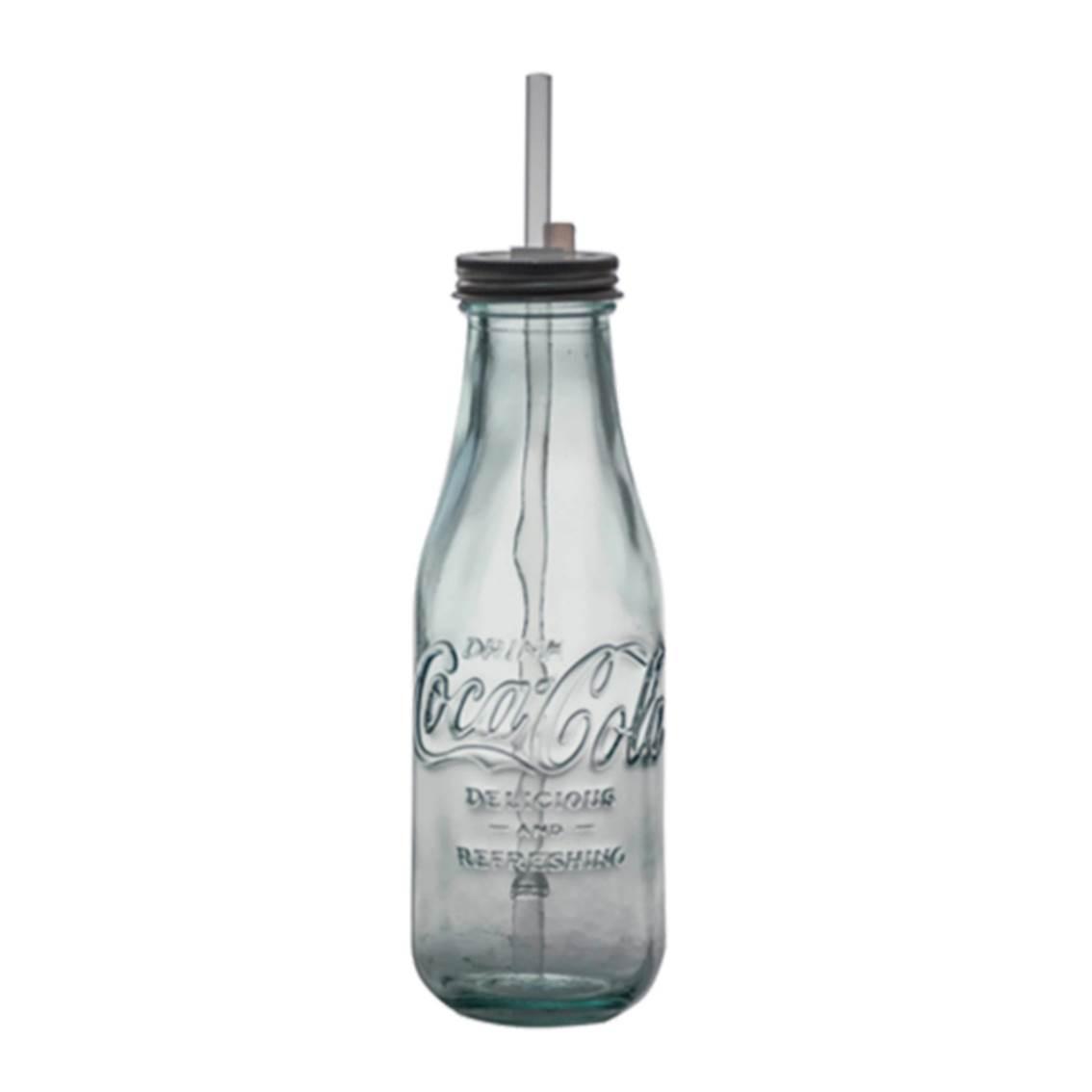 COCA COLA玻璃樽連飲管