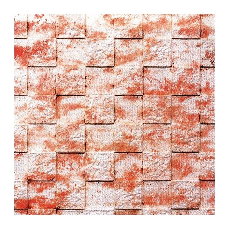 Q-ONE凹凸磚形DIY牆貼 (紅/白) 71x77x1cm