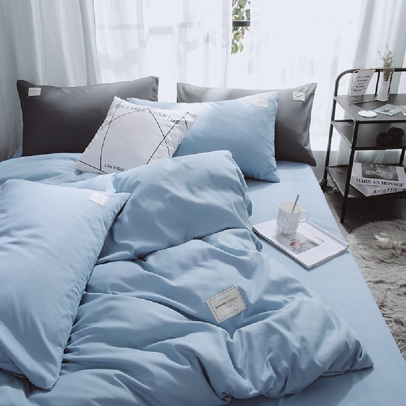 Aisuru1560針北歐款磨毛床品套裝蔚藍簡約(單人)*供應商直送 限門市自取