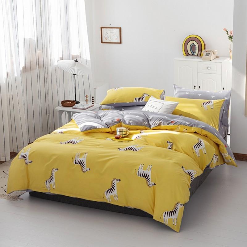 Aisuru1560針北歐款磨毛床品套裝時尚黃色斑馬(單人)*供應商直送 限門市自取