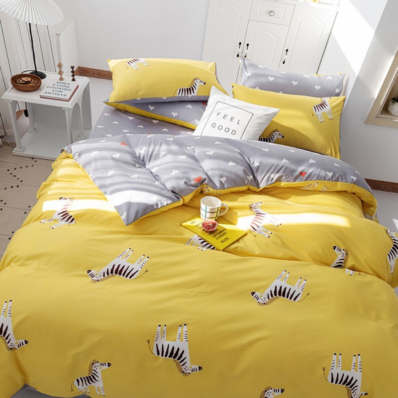 Aisuru1560針北歐款磨毛床品套裝時尚黃色斑馬(雙人)*供應商直送 限門市自取