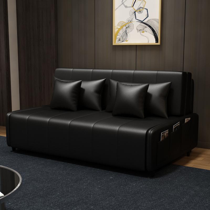 MR130cm多功能可折疊儲物超纖皮沙發床MR-6059黑色