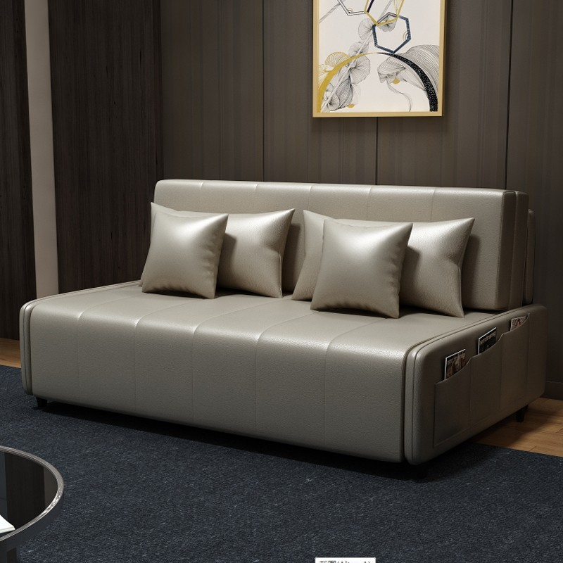 MR160cm多功能可折疊儲物超纖皮沙發床MR-6059灰色