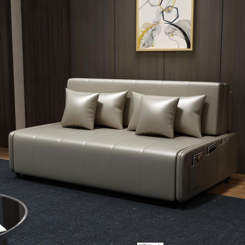 MR190cm多功能可折疊儲物超纖皮沙發床MR-6059灰色