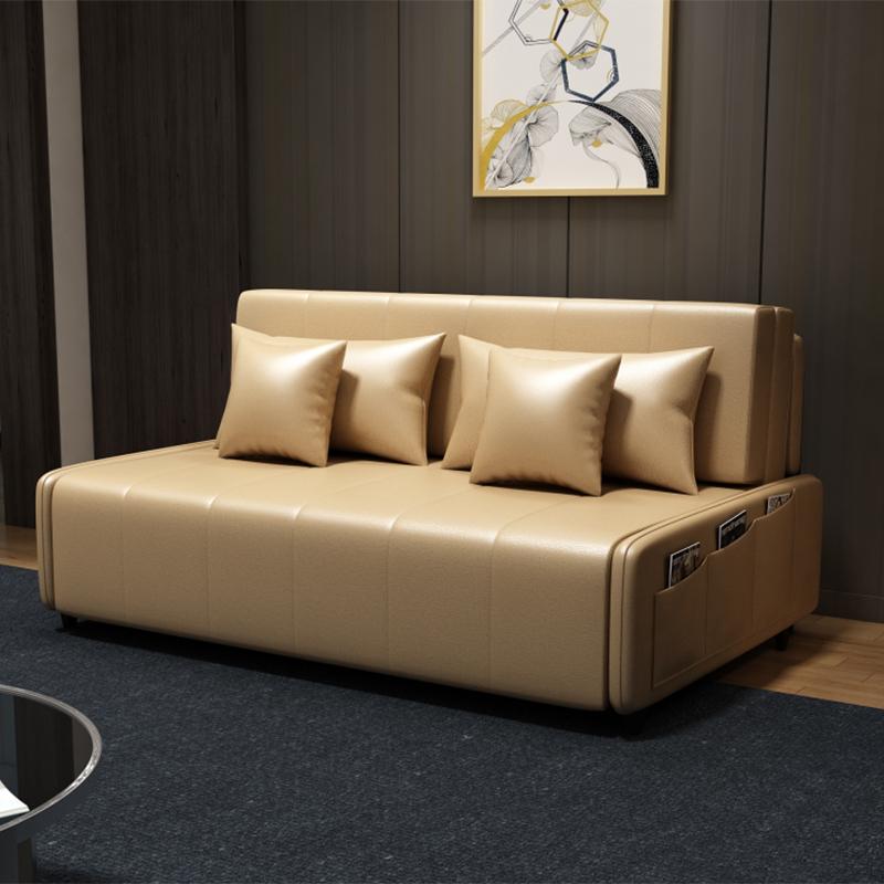 MR190cm多功能可折疊儲物超纖皮沙發床MR-6059杏色