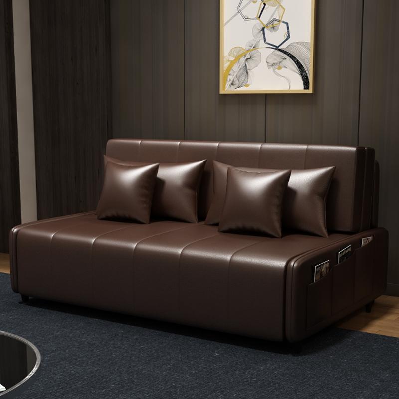 MR190cm多功能可折疊儲物超纖皮沙發床MR-6059棕色