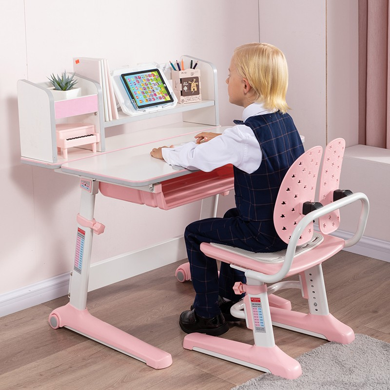 MR兒童人體工學學習桌椅套裝MR-5080粉红色