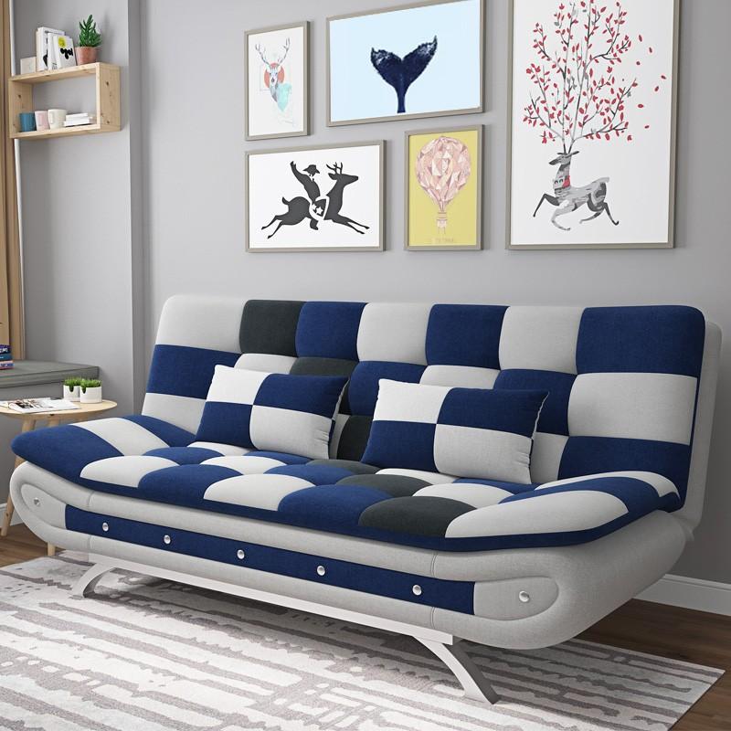 MR可折疊布藝沙發床MR-105 藍灰拼色