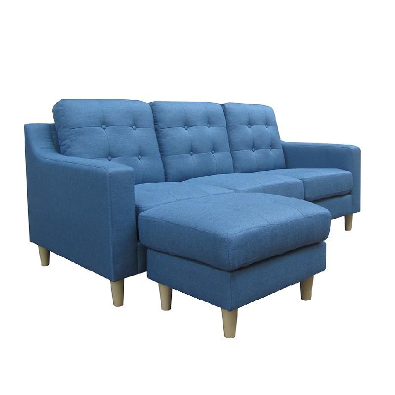 FT3座位布藝曲尺梳化連腳踏藍色2666(可更換尺寸)