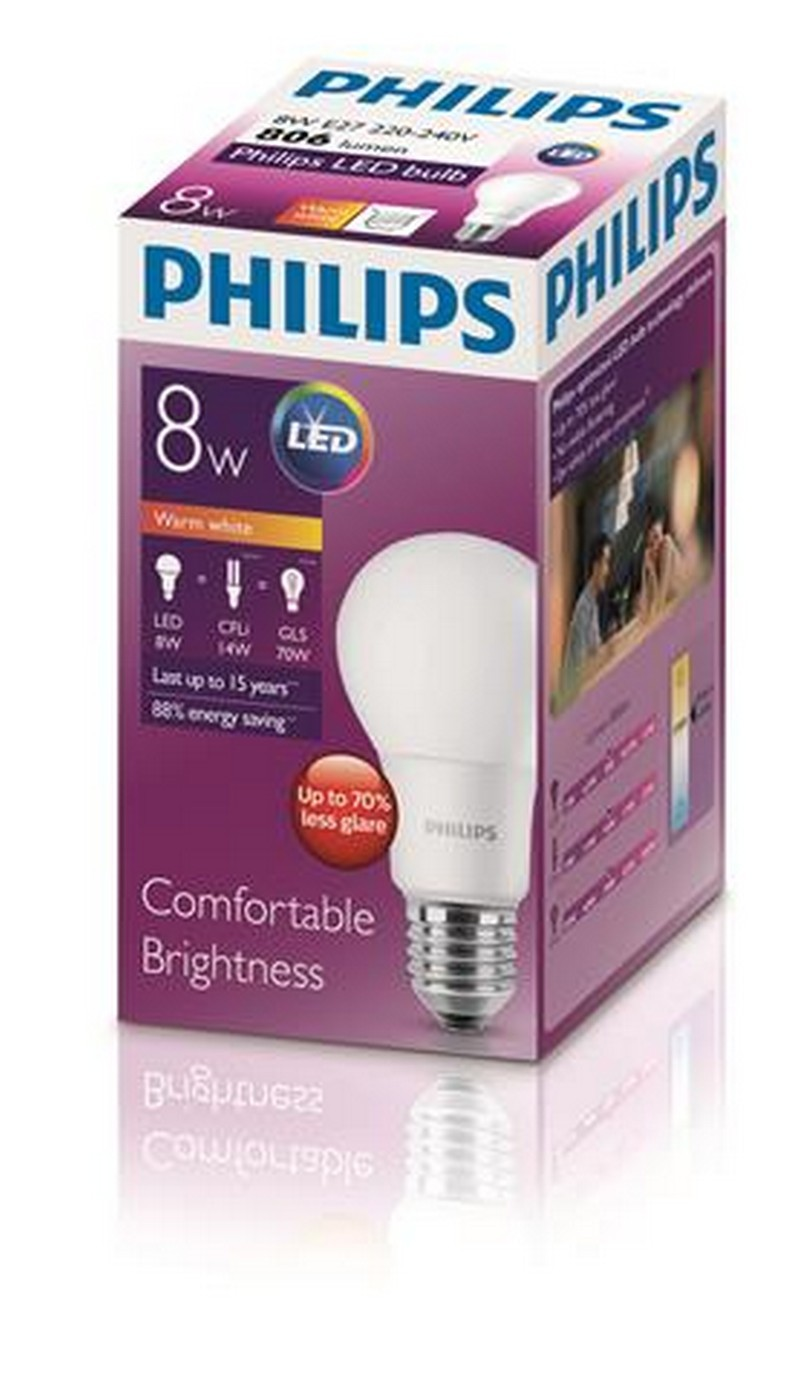 PHILIPS[原箱] LED球膽 8-70W 螺頭 黃光 *6件