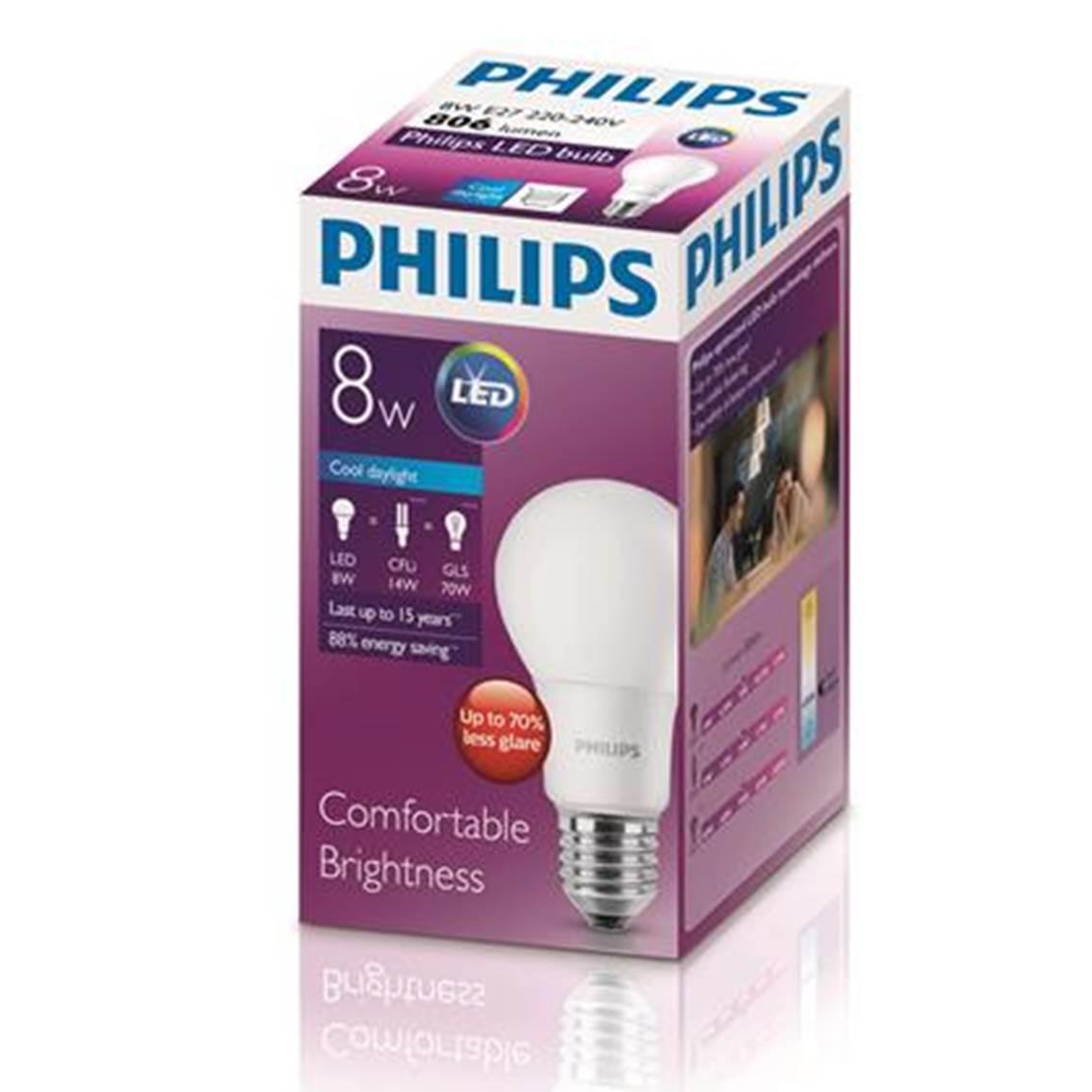 PHILIPS[原箱] LED球膽 8-70W 螺頭 白光 *6件